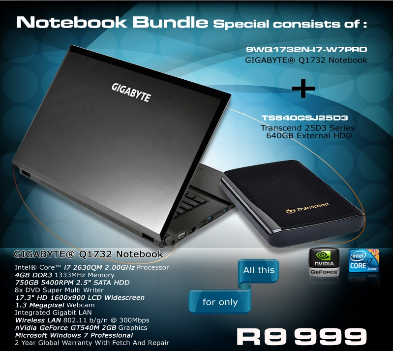 Gigabyte Q1732 Notebook Business Notebook. Perfect for the serious business user or graphic designer. Limited stock available. R8999Excl.